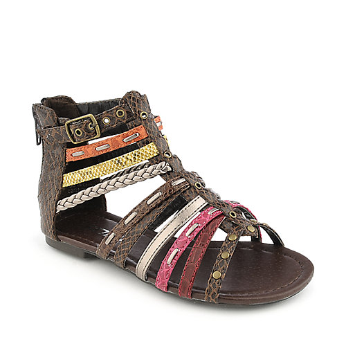 Soda Elrio-IIS chocolate kids flat gladiator sandal
