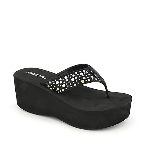 Soda Amador-S black platform wedge thong sandal