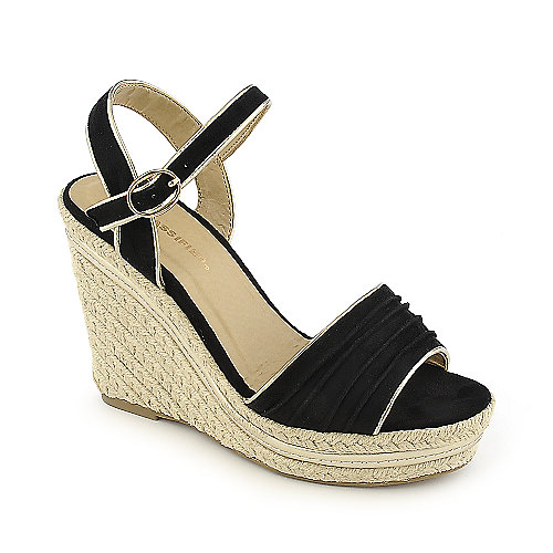 City Classified Milk-S black casual platform espadrille wedge