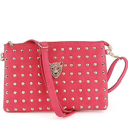 Yoki Studded coral Shoulder Bag