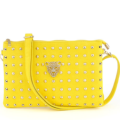 Yoki Studded yellow shoulder bag