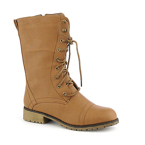 Groove Lug-11 tan combat low heel boot