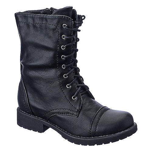 Shiekh Womens PK-05 black mid calf lace up combat boot