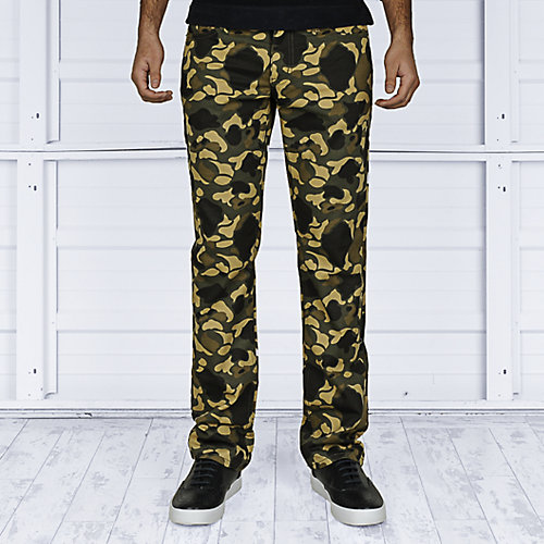 Rustic Dime Mens Slim Fit Denim Camo Pants