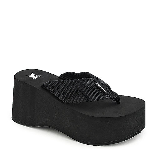 Shiekh Vacation black platform thong wedge sandal