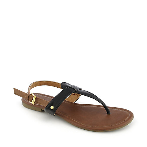 City Classified Lotus-S black flat thong sandal