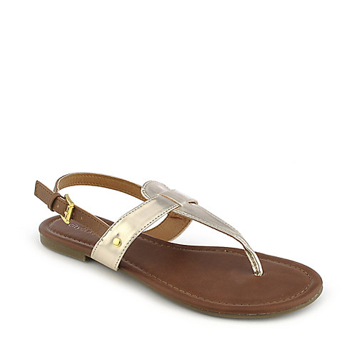 City Classified Lotus-S gold flat thong t-strap sandal