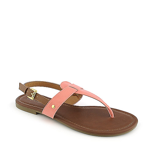 City Classified Lotus-S salmon flat thong sandal