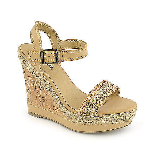 Soda Reedy-S natural casual platform wedge