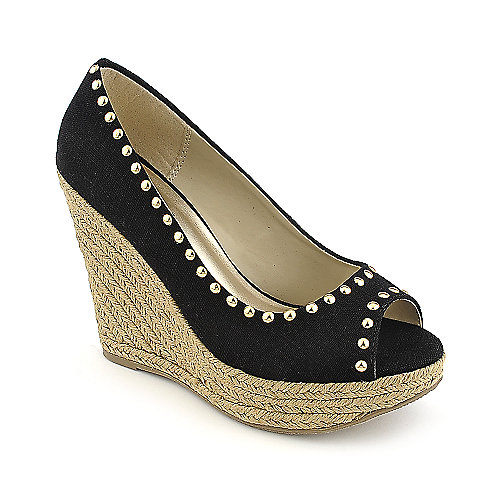 Soda Ryker-S casual black espadrille platform wedge
