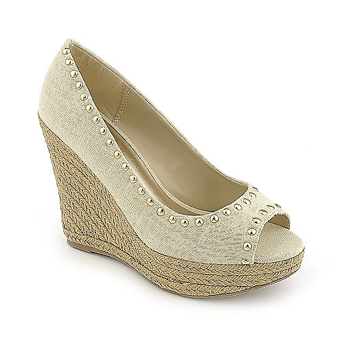 Soda Ryker-S casual beige espadrille slip on platform wedge