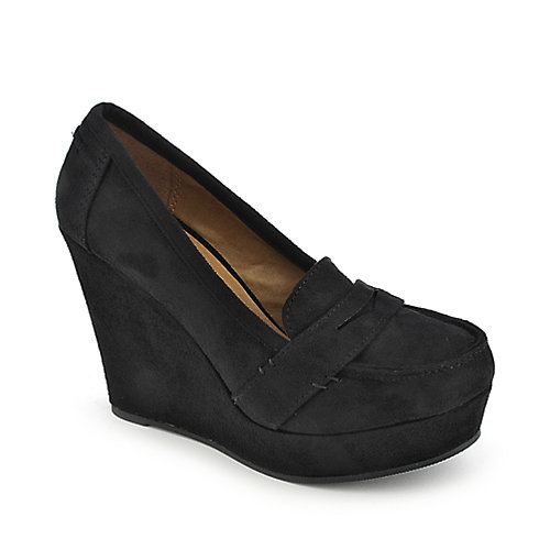 Soda Patio-S black casual slip on platform wedge shoe
