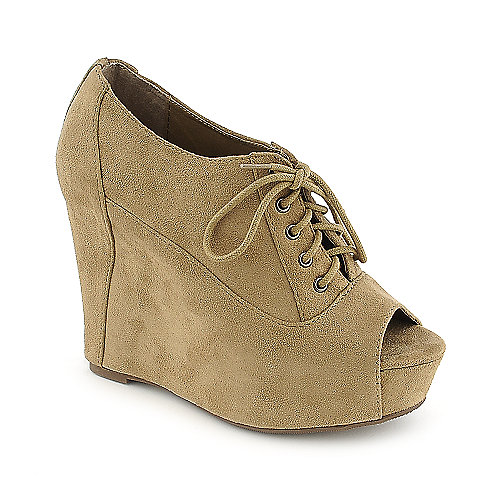 Soda Fia-S taupe platform wedge dress shoe