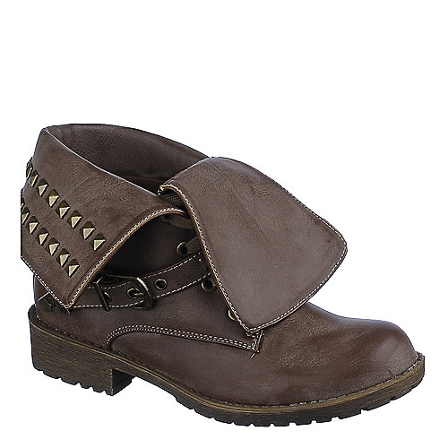Shiekh Womens Taylor-1-S brown fold over combat boot