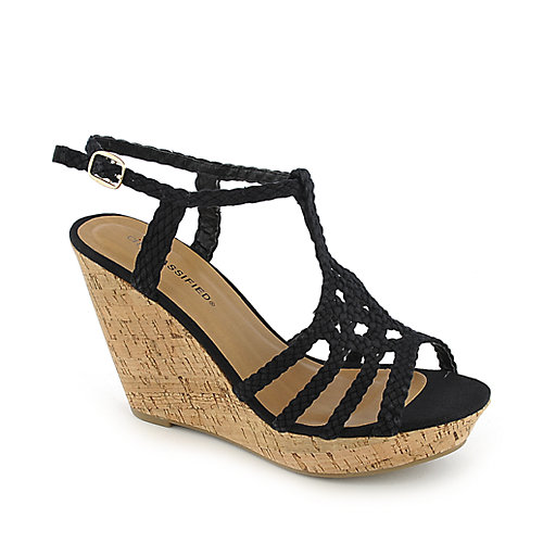 City Classified Olga-S black casual slingback platform wedge shoe