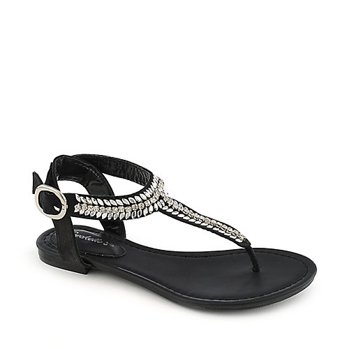 Breckelle's Stacy-43 black flat jeweled thong sandal