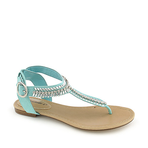 Breckelle's Stacy-43 mint green flat jeweled thong sandal