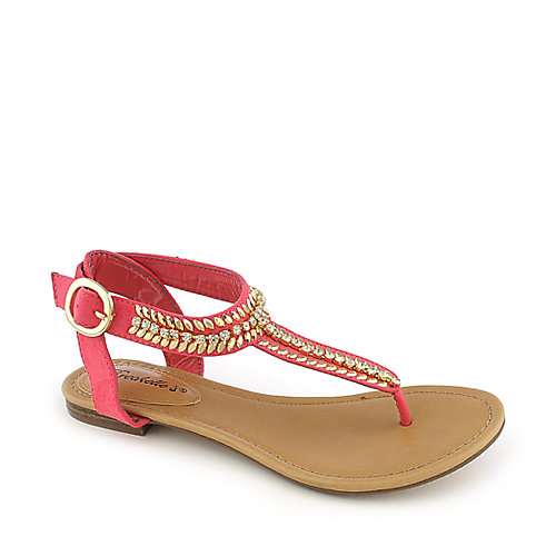 Breckelle's Stacy-43 pink flat jeweled thong sandal