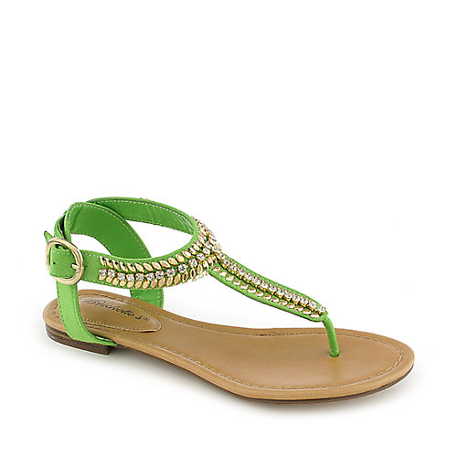 Breckelle's Stacy-43 green flat jeweled thong sandal