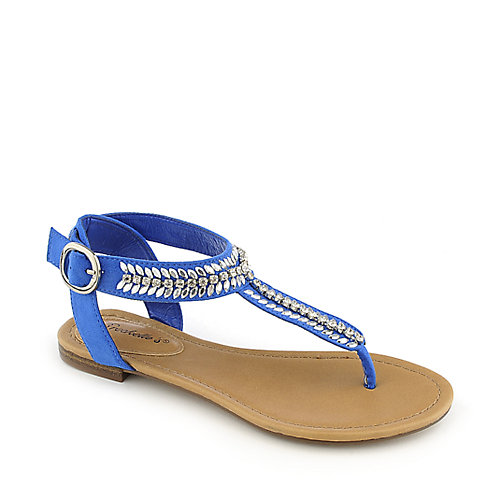 Breckelle's Stacy-43 blue flat jeweled thong sandal