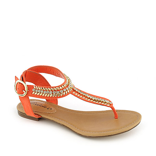Breckelle's Stacy-43 orange flat jeweled thong sandal