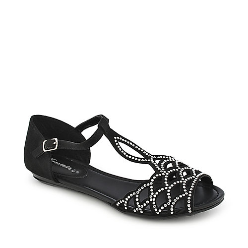 Breckelle's Ronda-03 black flat jeweled sandal