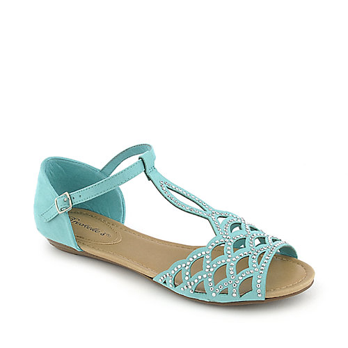 Breckelle's Ronda-03 mint green flat jeweled sandal