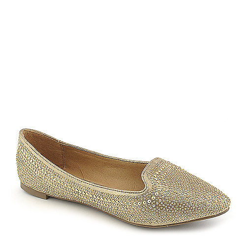 Breckelles Vena-03 gold flat slip on shoe