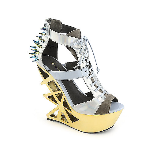 Privileged Novice grey platform spiked wedge