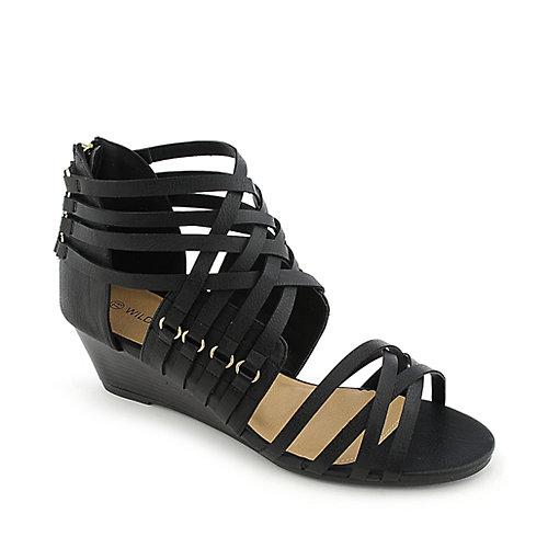 Wild Diva Paula-01 black strappy wedge sandal