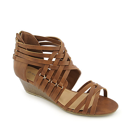 Wild Diva Paula-01 whisky strappy wedge sandal
