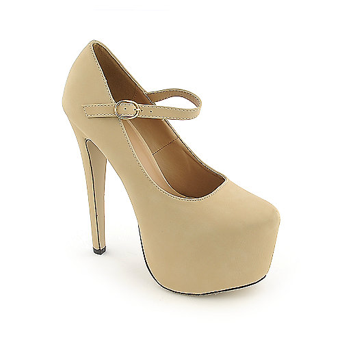 Glaze Nelly-4 nude platform high heel dress shoe