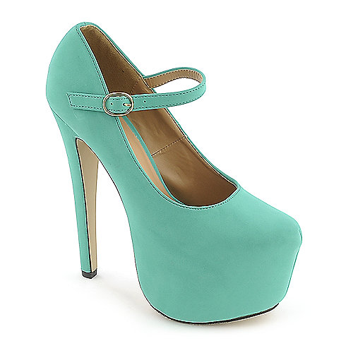 Glaze Nelly-4 green platform high heel dress shoe