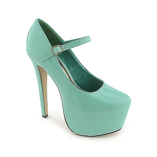 Glaze Nelly-2 green platform high heel dress shoe