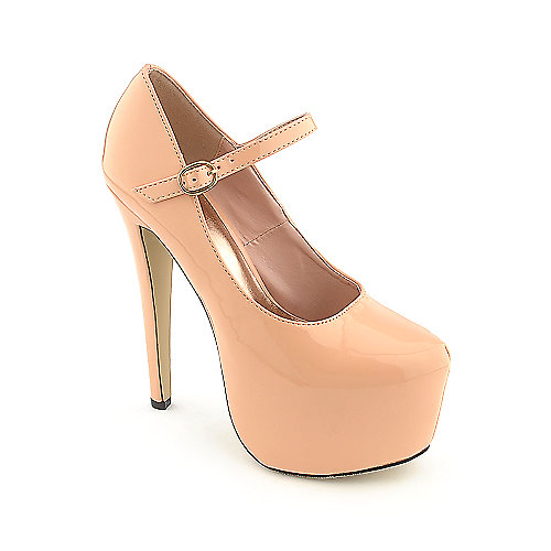 Glaze Nelly-2 peach platform high heel dress shoe