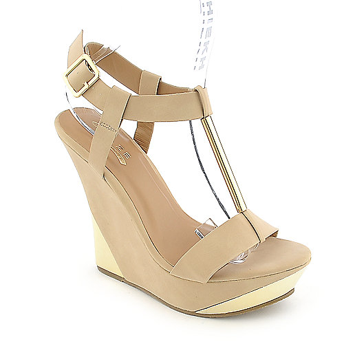 Glaze Verna-3 nude platform wedge dress shoe