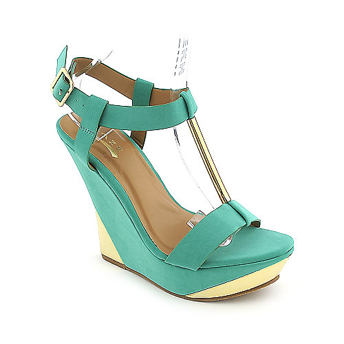 Glaze Verna-3 sea green platform wedge dress shoe