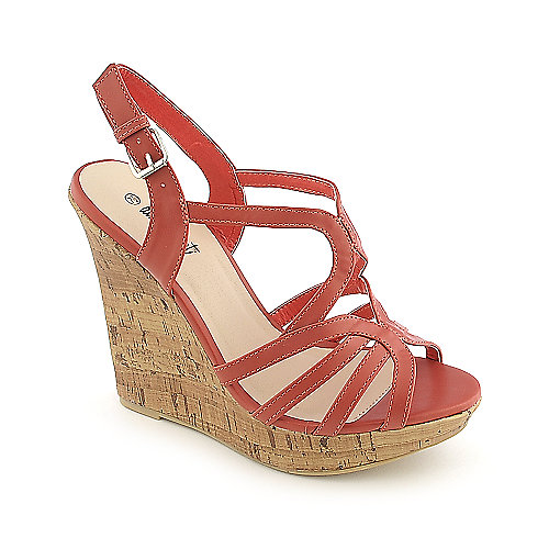 Anna Foret Madison-36A salmon platform slingback wedge