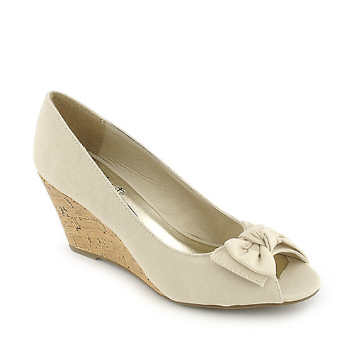 Anna Foret beige Lana-01 casual slip on wedge