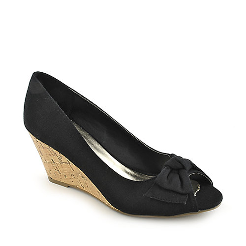 Anna Foret Lana-01 black casual slip on wedge