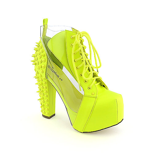 Breckelle's Britney-15 womens ankle high heel platform lace-up spiked boot