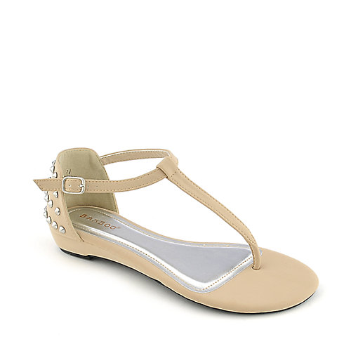 Bamboo Lottie-39 womens casual T-strap low wedge