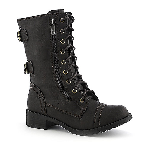 Soda Womens Dome-H brown mid calf combat boot