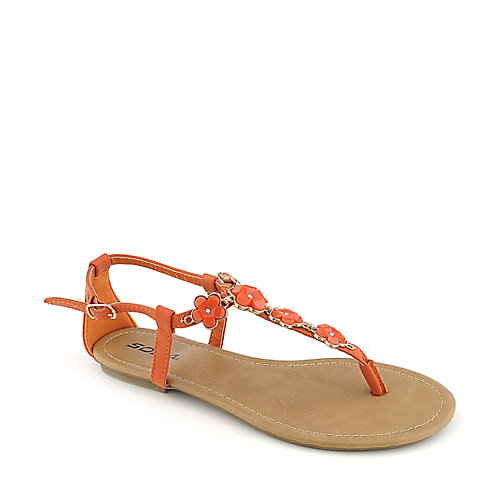 Soda Medina-S orange flat thong sandal