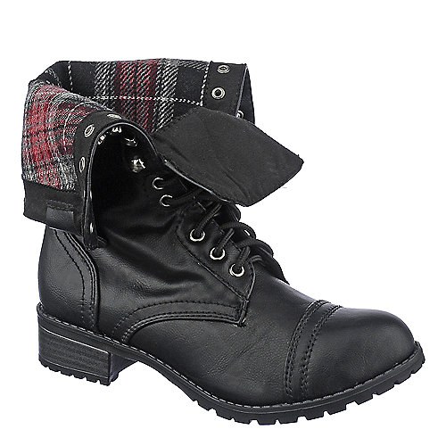 Shiekh Womens Oralee-S black fold over combat boot