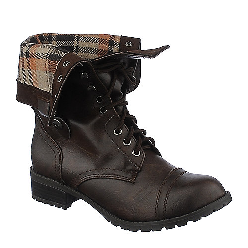 Shiekh Womens Oralee-S brown fold over combat boot