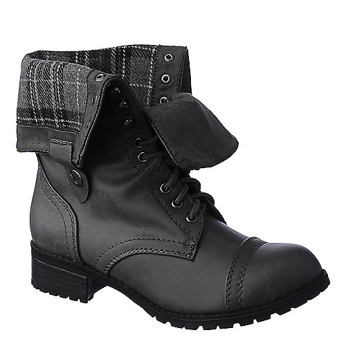 Shiekh Oralee-S Women's Grey Fold Over Combat Boot | Shiekh Shoes