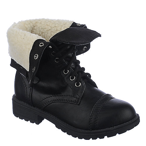 Shiekh Kids Oralee-IIS black fur fold over combat boot