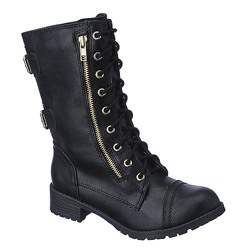 soda dome h s black combat boot shiekh shoes