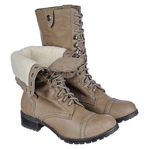 Shiekh Women Oralee-S brown fold over fur combat boot
